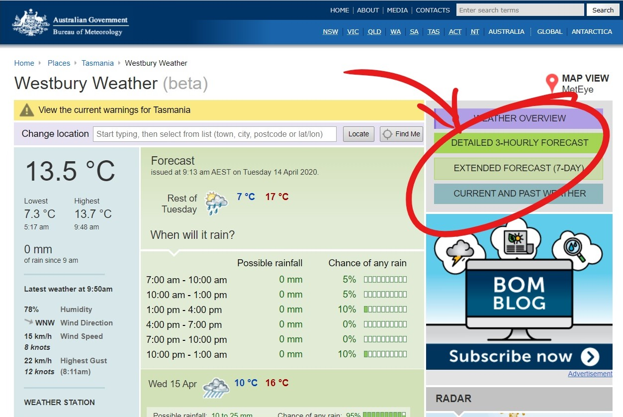 Delmade Free Resources - Step 3 How to Access Your Local Weather Report.  Click Image, Enter Location Select Report