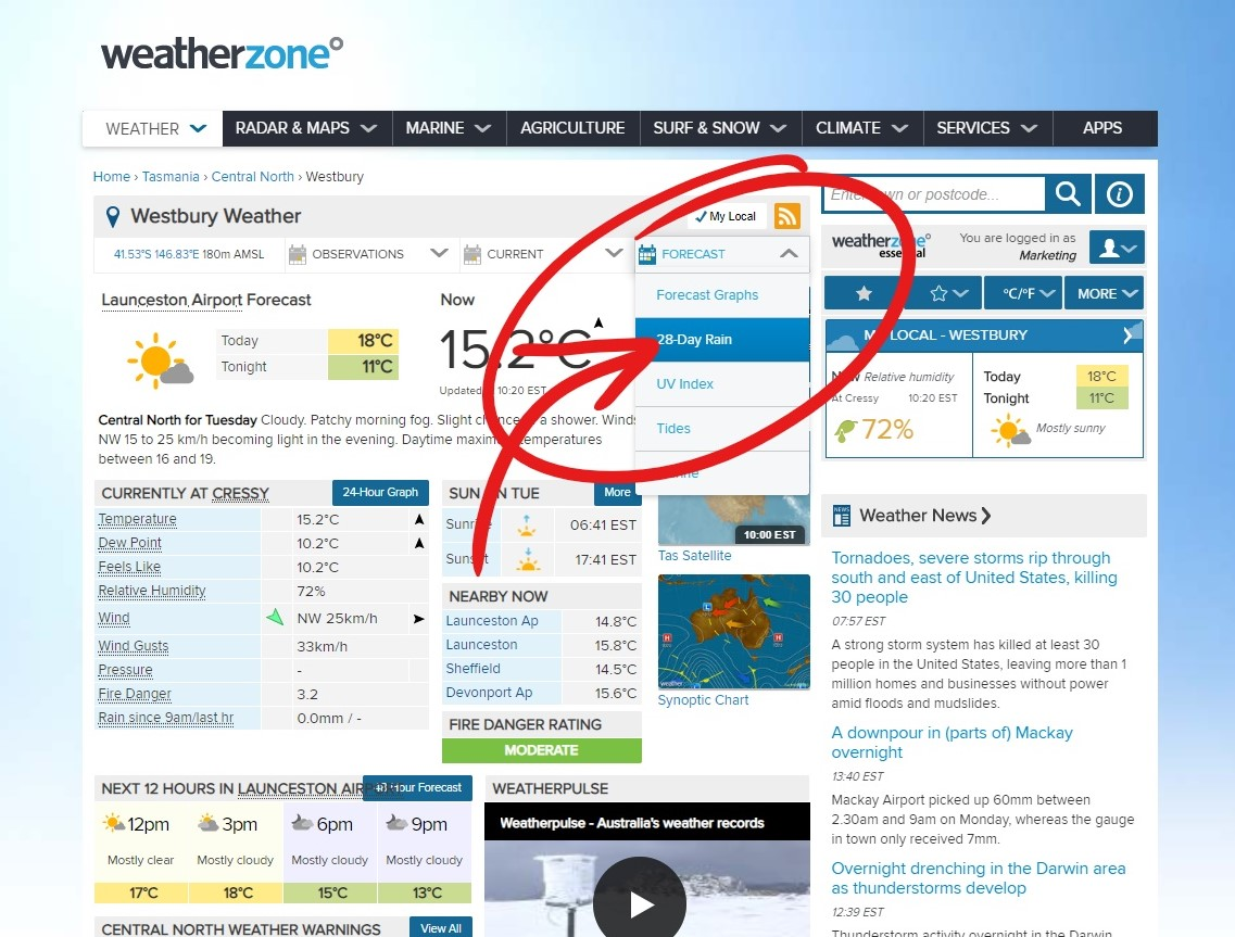 Delmade Free Resources 28 Day Rain Forecast Weather Step 3 Click to Weatherzone, Search Location and Click to view report