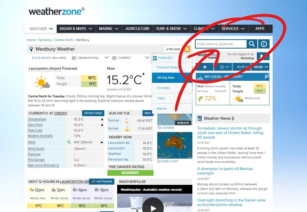 Delmade Free Resources 28 Day Rain Forecast Weather Step 2 Click through to Weatherzone and search your postcode and location